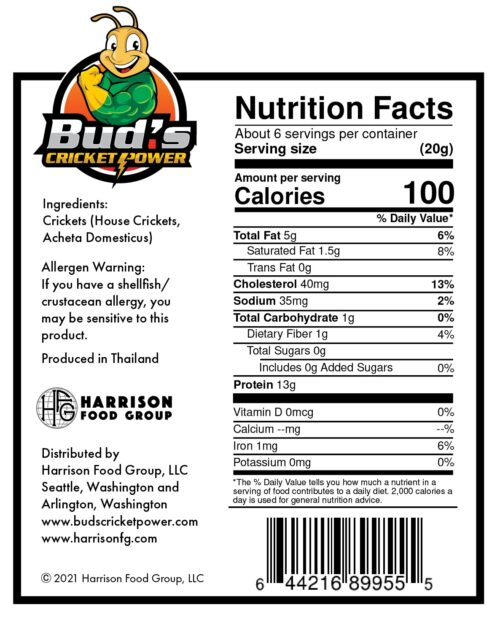 Nutrition facts for 1/4 pound whole roasted crickets